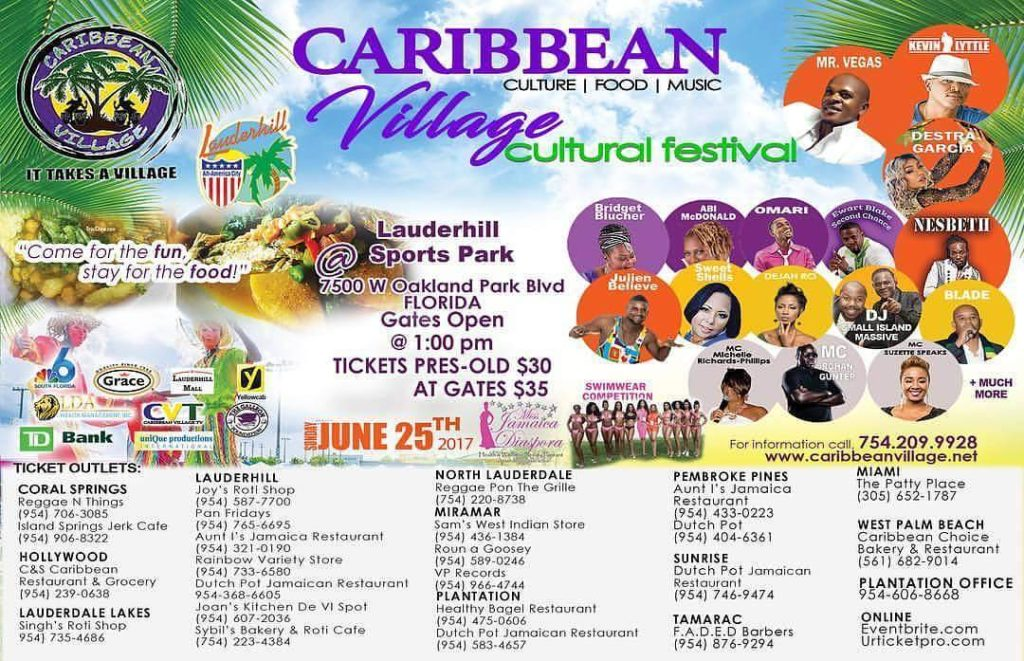 Next sundayCARIBBEAN VILLAGE CULTURAL MUSIC FESTIVAL THE LAUDERHILL SPORTS PARKhellip