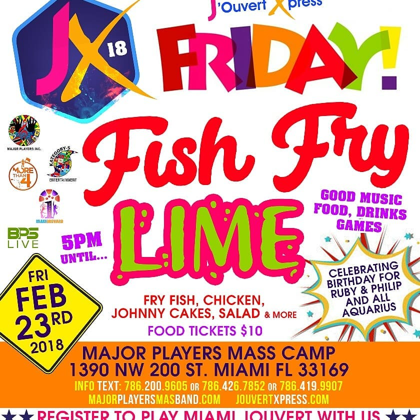 Jouvert Xpress presents Friday Fish Fry Lime on February 23rdhellip