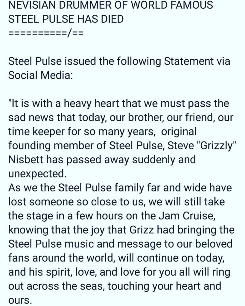 Nevis massive and steel pulse fans Accept our condolences Keephellip