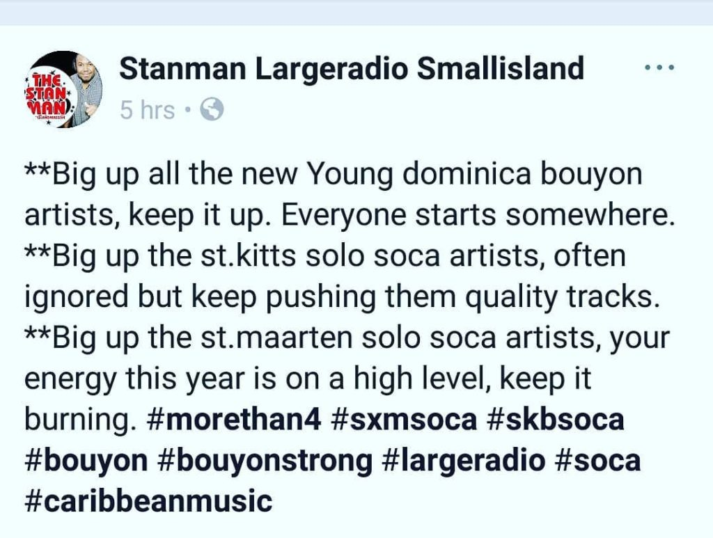 Big up all the new Young dominica bouyon artists keephellip