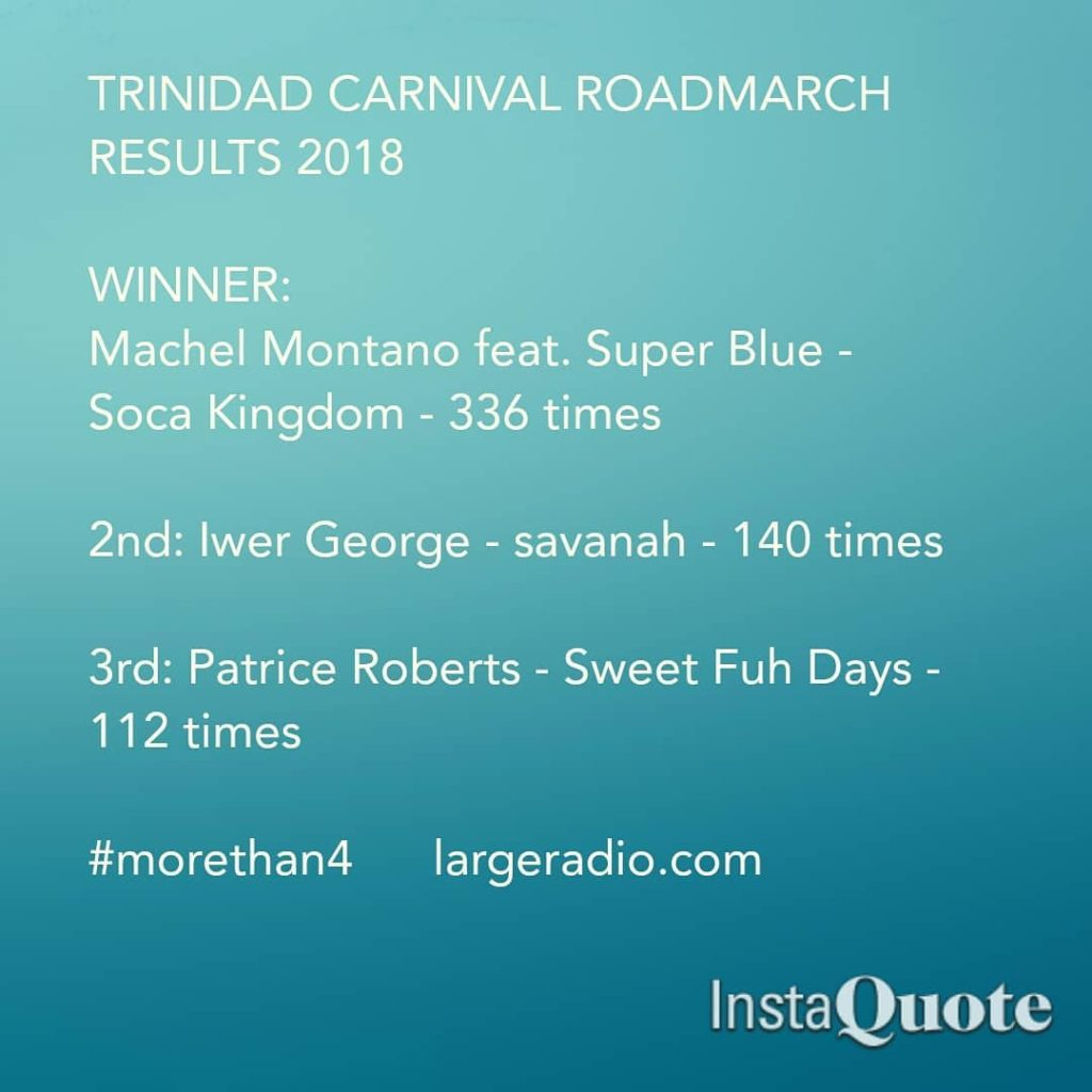 TRINIDAD CARNIVAL ROADMARCH RESULTS 2018 morethan4 largeradiocom roadmarch tntsoca trinidadcarnivalhellip