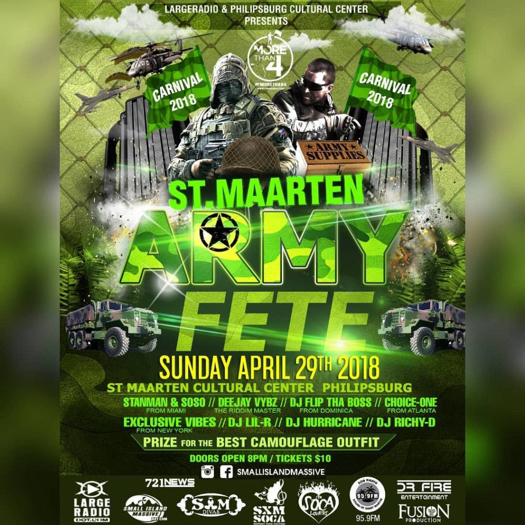 STMAARTEN CARNIVAL CAMOUFLAGE ARMY FETE 2018 Sunday Night April 29thhellip